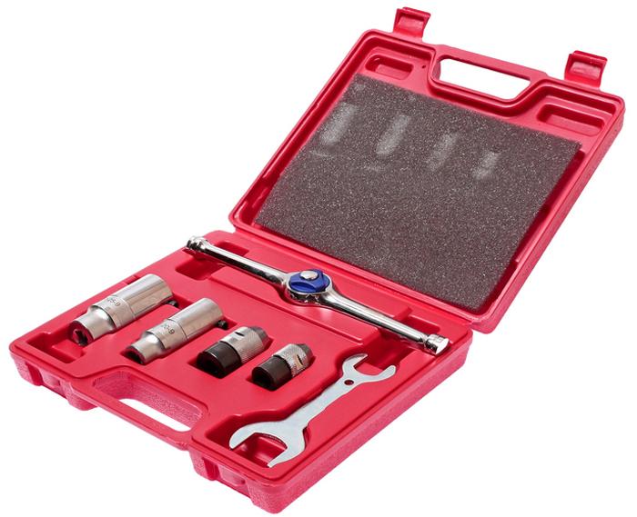 JTC Набор держателей для метчиков и плашек, 6 предметов. JTC-5702JTC-5702Держатель метчиков и плашек набор 6 предметов JTC Описание В наборе: Держатель метчиков - 2 шт.: предназначен под ключ с посадочным квадратом 3/8 DR, M3-M8, M6-M12. Держатель плашек - 2 шт.: предназначен под ключ с посадочным квадратом 3/8 DR, O20, O25. Реверсивная трещотка - 1 шт. Ключ - 1 шт. В наборе 6 предметов. Упаковка: прочный пластиковый кейс. Габаритные размеры: 230/205/55 мм. (Д/Ш/В) Вес: 1318 г.