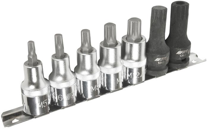 JTC Набор насадок SPLINE 1/2 M5-M14, M16H, 7 предметов. JTC-H407MJTC-H407MВ комплекте: М5, М6, М8, М10, М12, М14, М16Н. Общее количество: 7 шт. Материал: высококачественная хром-молибденовая и хром-ванадиевая сталь.