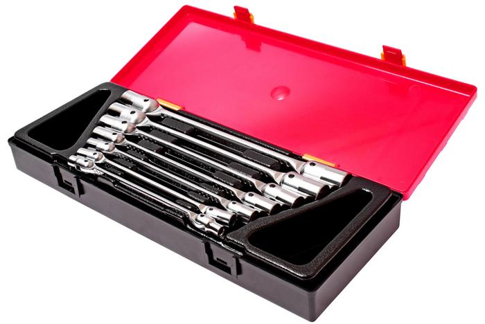 JTC Набор ключей торцевых шарнирных, 7 шт. JTC-K6072CA-3505Предназначены для проведения слесарных работ, в том числе с труднодоступными резьбовыми соединениями.Используются также для снятия и установки колёс транспортного средства. В комплекте: Артикулы JTC-3939-3964: ключ торцевой (двухсторонний) 6х7 мм., 8х9 мм., 10х11 мм., 12х13 мм., 14х15 мм., 16х17 мм., 18х19 мм., - 7 шт. Общее количество предметов: 7 шт.Комплект упакован в прочный презентабельный бокс. Количество в оптовой упаковке: 8 шт. Габаритные размеры: 370/145/55 мм. (Д/Ш/В)Вес: 1905 гр.