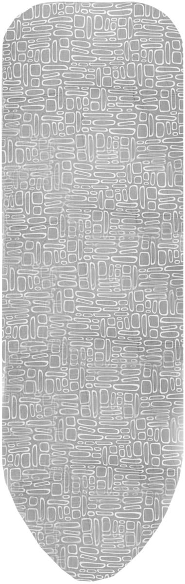Чехол для гладильной доски Paterra, антипригарный, с поролоном, цвет: серый, белый, 146 х 55 см402-486_серый, белыйЧехол для гладильной доски Paterra, антипригарный, с поролоном, цвет: серый, белый, 146 х 55 см