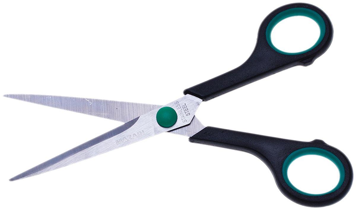 Mazari Ножницы Be Top 14 см цвет зеленыйМ-5601Ножницы Mazari Be Top с лезвиями из нержавеющей стали станут прекрасным помощником на вашем столе в офисе или дома! Изделие выполнено в черно-зеленом цвете. Ножницы имеют закругленные концы и пластиковые ручки с резиновыми вставками. Область применения таких ножниц достаточно широка: их можно использовать для разрезания любых видов бумаги и картона.