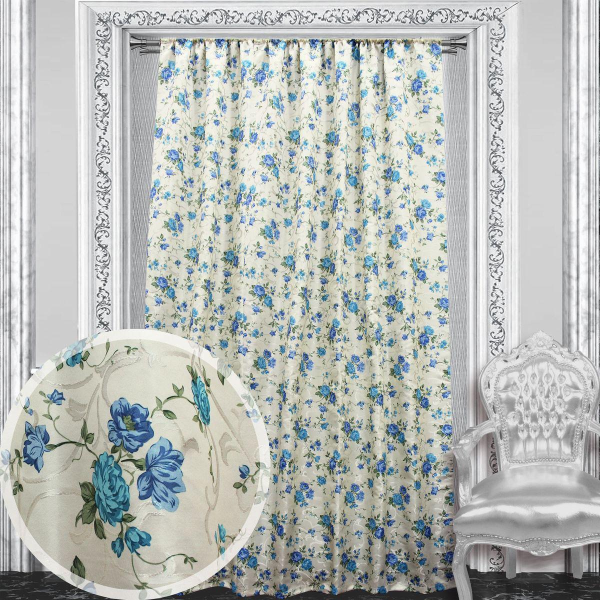 Портьера Amore Mio, 145 х 270 см, 1 шт., цвет: голубой. 8603986039