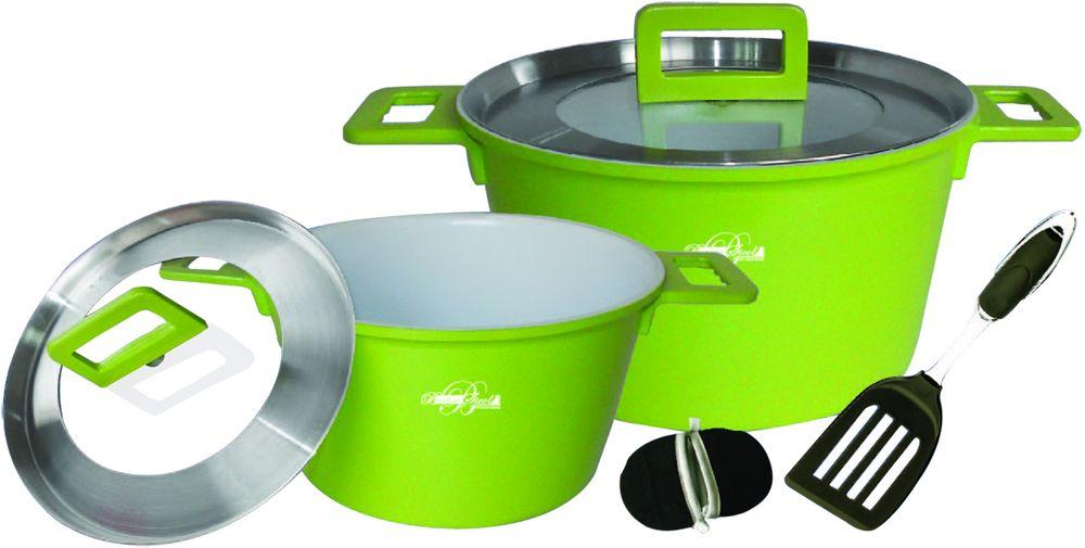 Набор посуды Barton Steel, 7 предметовCM000001328Набор посуды 7 предметов. Внутреннее противопригарное белое керамическое покрытие. Стеклянные крышки с отверстием для вывода пара. Размер: Кастрюли 24 х 14 см. 4,5л; 28 х 12см. 7л; Нейлоновая лопатка. В комплекте чехлы-прихватки для ручек.