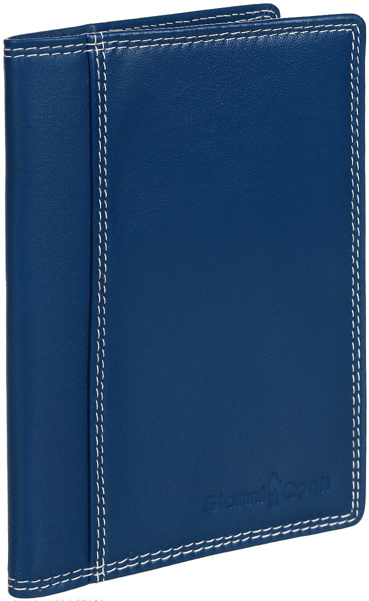 Обложка для паспорта Gianni Conti, цвет: синий. 1807455ICE 8508Стильная обложка для паспорта Gianni Conti выполнена из натуральной кожи с зернистой фактурой. Обложка оформлена декоративной строчкой и выдавленным клеймом с названием и логотипом бренда. Изделие раскладывается пополам, внутри размещены шесть карманов для кредитных карт.Элегантная обложка Gianni Conti не только поможет сохранить внешний вид ваших документов и защитить их от повреждений, но и станет стильным аксессуаром, идеально подходящим к вашему образу.