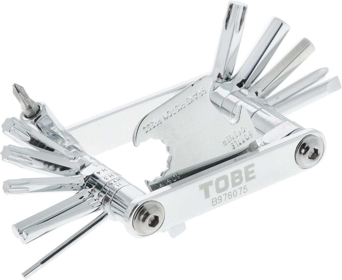 Инструмент складной To Be, 22 в 16056Складное изделие To Be - это многофункциональный инструмент, включающий в себя 22 составляющих. Изделие выполнено из прочной стали. Такой инструмент станет незаменим для велосипедистов. В сложенном виде он занимает мало места.С мультифункциональным инструментом To Be ни одна неприятность не застанет вас врасплох.Инструменты:Шестигранники: 2 мм, 2,5 мм, 3 мм, 4 мм, 5 мм, 6 мм, 8мм. Отвертки: Т25, Т27, Т30, Т40, PH1, PH2, SL3, SL4.Выжимка цепи.Спицевые ключи: 3,2 мм, 3,5 мм.Mavic 5,65 мм.Пресс тормозного поршня.