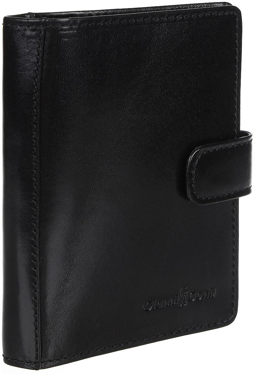 Обложка для паспорта мужская Gianni Conti, цвет: черный. 907035BM8434-58AEСтильная обложка для паспорта Gianni Conti выполнена из натуральной кожи глянцевой текстурой. Обложка оформлена декоративной строчкой и выбитым клеймом с изображением логотипа названия бренда. Изделие раскладывается пополам и закрывается на хлястик с кнопкой, внутри расположены шесть карманов для визитных или пластиковых карт, два накладных кармана для документов и карман-стенка для паспорта.Элегантная обложка Gianni Conti не только поможет сохранить внешний вид ваших документов и защитит их от повреждений, но и станет стильным аксессуаром, идеально подходящим вашему образу.