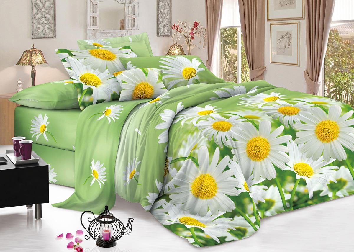 Комплект белья Flora Любит - не любит, 1,5-спальный, наволочки 70х70, цвет: белый10503Комплект постельного белья Flora производится из полисатина (100% п/э). Ткань имеет шелковистую поверхность и приятный блеск, мягкая и очень приятная на ощупь. К достоинствам также можно отнести долговечность, ткань не линяет, сохраняет яркость красок даже после многочисленных стирок, не садится. Проста в использовании: легко стирается и быстро сохнет, и при этом комплект имеет привлекательную цену. Комплектация: простыня 145х214 - 1 шт., пододеяльник 143х215 - 1 шт., наволочка 70х70 - 2 шт.