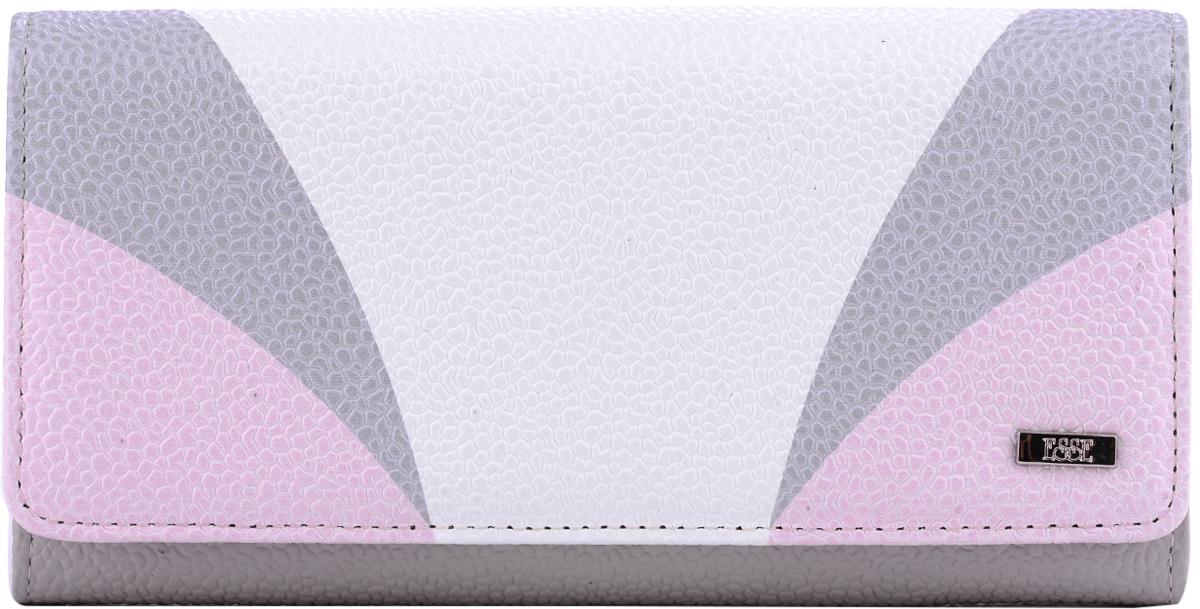 Кошелек женский Esse Радо, цвет: серый, розовый, белый. GRDO00-00MG00-FJ412O-K100BM8434-58AEБольшой вместительный кошелёк - купюрник. Имеет 3 широких отделения для купюр и 4 дополнительных открытых кармана, 6 прорезных карманов для кредитных карт (одно в виде кармашка с пластиковым окном). На задней стенке отделение для мелочи, закрывающееся на молнию. Закрывается на кнопку.