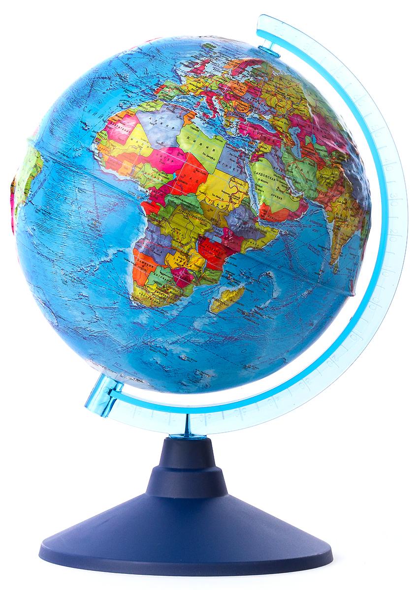 Globen Глобус Земли политический рельефный диаметр 21 смFS-00897Глобус Земли Globen с политической картой мира выполнен в высоком качестве, с четким и ярким изображением. Он даст представление о политическом устройстве мира. На нем отображены линии картографической сетки, показаны границы государств и демаркационные линии, столицы и крупные населенные пункты, линия перемены дат. Рельеф на глобусе демонстрирует наличие гор и возвышенностей. Глобус легко вращается вокруг своей оси, снабжен пластиковым меридианом с градусными отметками. Подставка изготовлена из пластика.Надписи на глобусе сделаны на русском языке. В комплект входит: глобус, подставка.