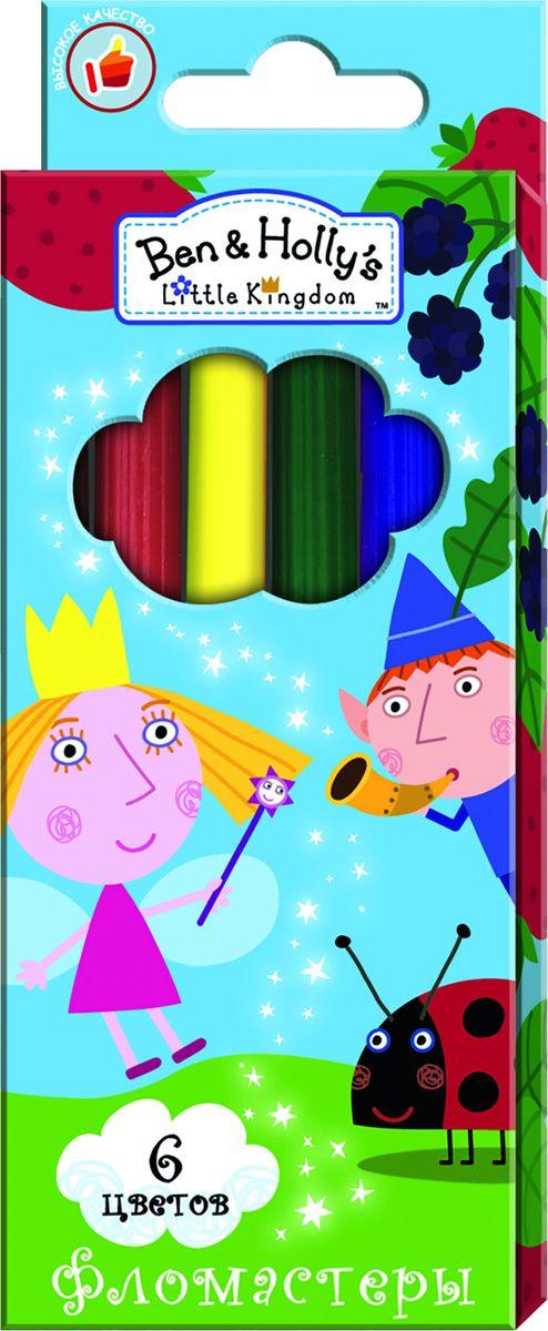 Ben&Holly Набор фломастеров Бен и Холли 6 цветов72523WDФломастеры ТМ Бен и Холли, идеально подходящие для рисования и раскрашивания, помогут вашему ребенку создавать яркие картинки, а упаковка с любимыми героями будет долгое время радовать юного художника. В набор входит 6 разноцветных фломастеров с вентилируемыми колпачками, безопасными для детей.Диаметр корпуса: 0,8 см; длина: 13,5 см.Фломастеры изготовлены из материала, обеспечивающего прочность корпуса и препятствующего испарению чернил, благодаря этому они имеют гарантированно долгий срок службы: корпус не ломается, даже если согнуть фломастер пополам.Состав: ПВХ, пластик, чернила на водной основе.