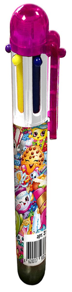 Shopkins Ручка шестицветная Шопкинс72523WDВ учебе часто требуется много разноцветных ручек, которые занимают лишнее место в пенале и прибавляют вес и без того тяжелому рюкзаку. Решить эту проблему поможет многоцветная автоматическая ручка с забавными героями мультфильма Шопкинс: с ней не потребуется носить с собой много ручек, так как в ней уже есть 6 основных цветов, которые могут потребоваться в учебе (красный, зеленый, фиолетовый, желтый, синий, черный). Шариковая автоматическая ручка имеет удобную форму и нажимной механизм.Состав: ПВХ, пластик, чернила.