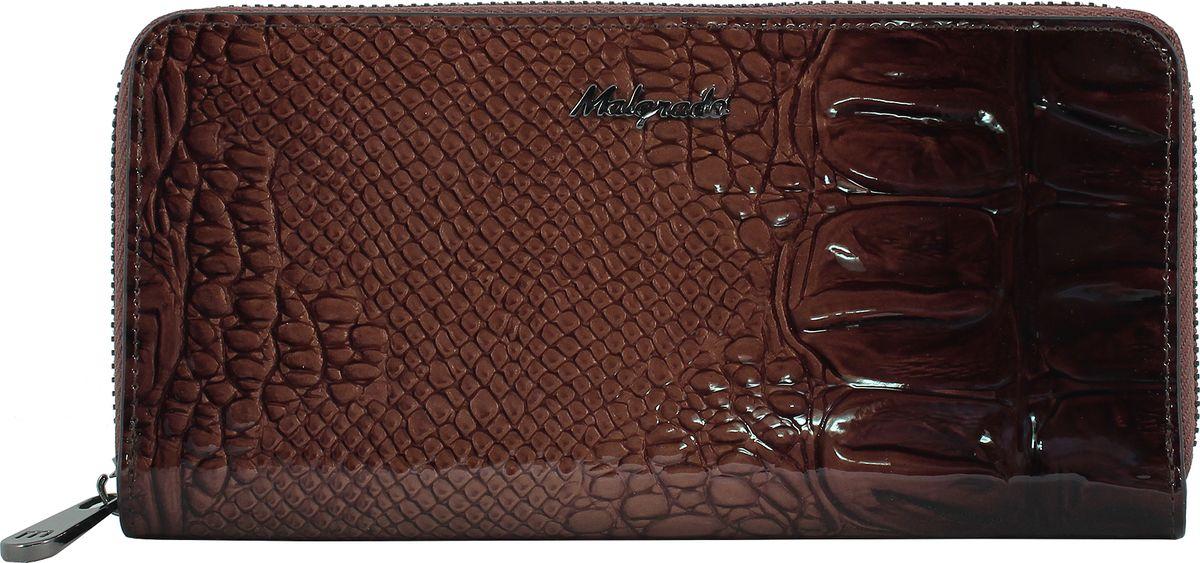 Кошелек женский Malgrado, цвет: коричневый. 77006-04403BP-001 BKЖенский клатч Malgrado из натуральной лаковой кожи с тиснением под рептилию. Под молнией внутри клатча 5 отделений, одно из них на молнии. Также на одной жесткой перегородке есть 1 прозрачный кармашек под карточки. В кошельке на боковых стенках есть по 4 кармашка для карточек и по 1 продольному кармашку. Закрывается на металлическую молнию.