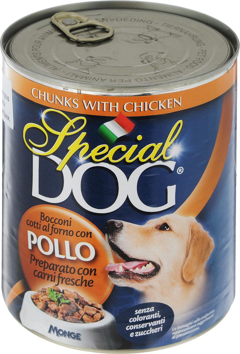 Консервы для собак Monge Special Dog, с кусочками курицы, 820 г0120710Консервы для собак Monge Special Dog - это полнорационный консервированный корм с кусочками курицы. Специально разработан для ежедневного кормления взрослых собак всех пород с нормальной физической активностью. Продукт не содержит консервантов и красителей. Для собак среднего размера рекомендуется приблизительно 800 г продукта в день. Данная дозировка может меняться в зависимости от породы, возраста собаки и уровня ее активности. Подавать корм комнатной температуры. Важно, чтобы у животного всегда был свободный доступ к свежей и чистой воде. Товар сертифицирован.