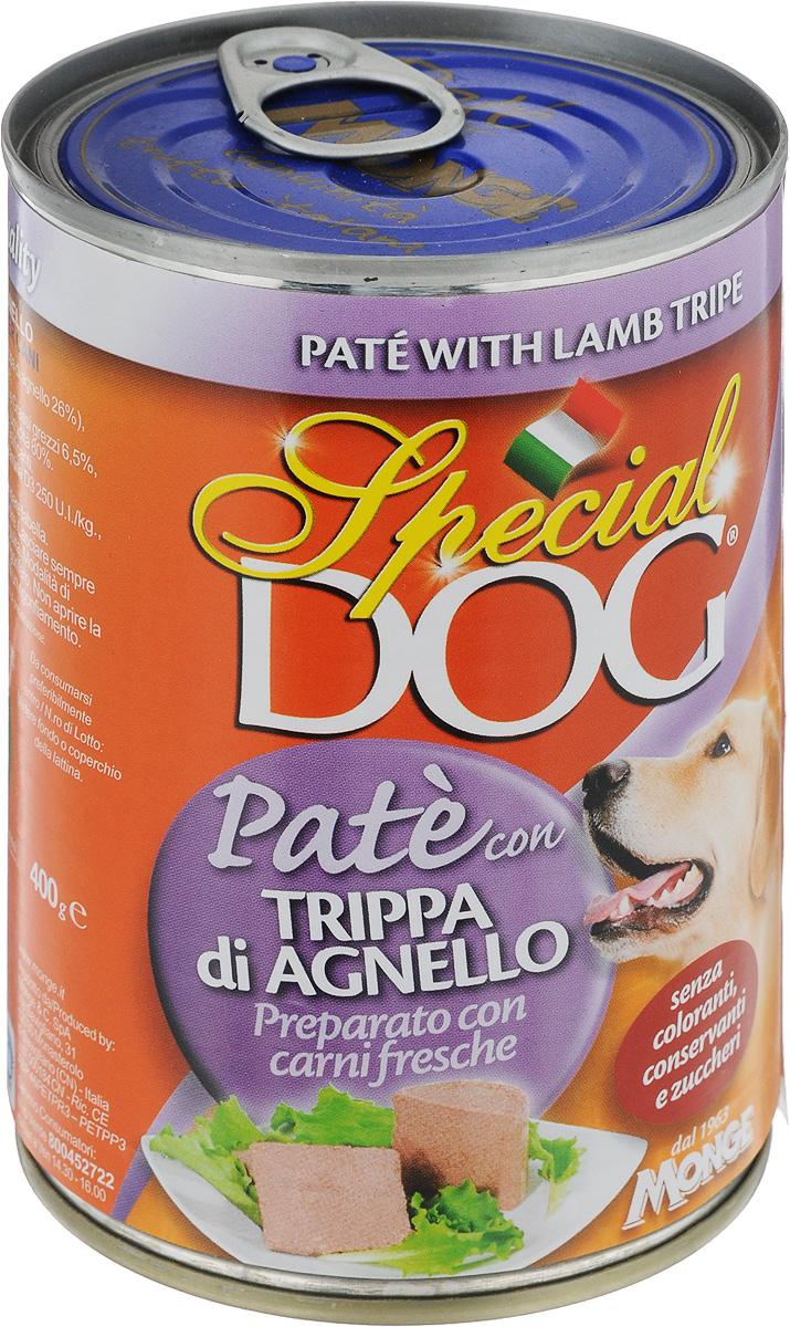 Консервы для собак Monge Special Dog, паштет с рубцом ягненка, 400 г0120710Консервы для собак Monge Special Dog - это полнорационный консервированный корм на основе рубца ягненка. Специально разработан для ежедневного кормления взрослых собак всех пород с нормальной физической активностью. Продукт не содержит консервантов и красителей. Для собак среднего размера рекомендуется приблизительно 800 г продукта в день. Данная дозировка может меняться в зависимости от породы, возраста собаки и уровня ее активности. Подавать корм комнатной температуры. Важно, чтобы у животного всегда был свободный доступ к свежей и чистой воде. Товар сертифицирован.