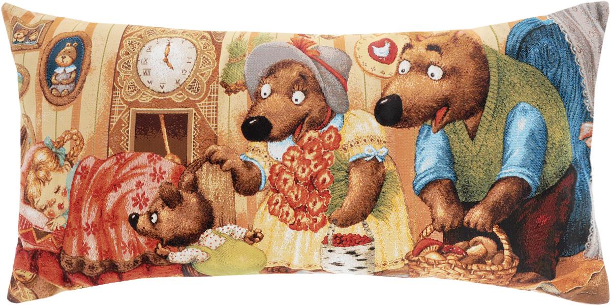 Подушка декоративная Рапира Маша и медведи, 32 х 66 см531-401Декоративная подушка Рапира Красная Маша и медведи изготовлена из 50% хлопка и 50% полиэфира. Изделие очень прочное и нежное на ощупь. Лицевая сторона подушки декорирована красочным гобеленовым рисунком, а оборотная сторона - однотонная ткань, похожая на плюш. Чехол подушки снабжен удобной молнией. Подушка Рапира Маша и медведи станет приятным дополнением к интерьеру любой комнаты.Размер подушки: 32 х 66 см.