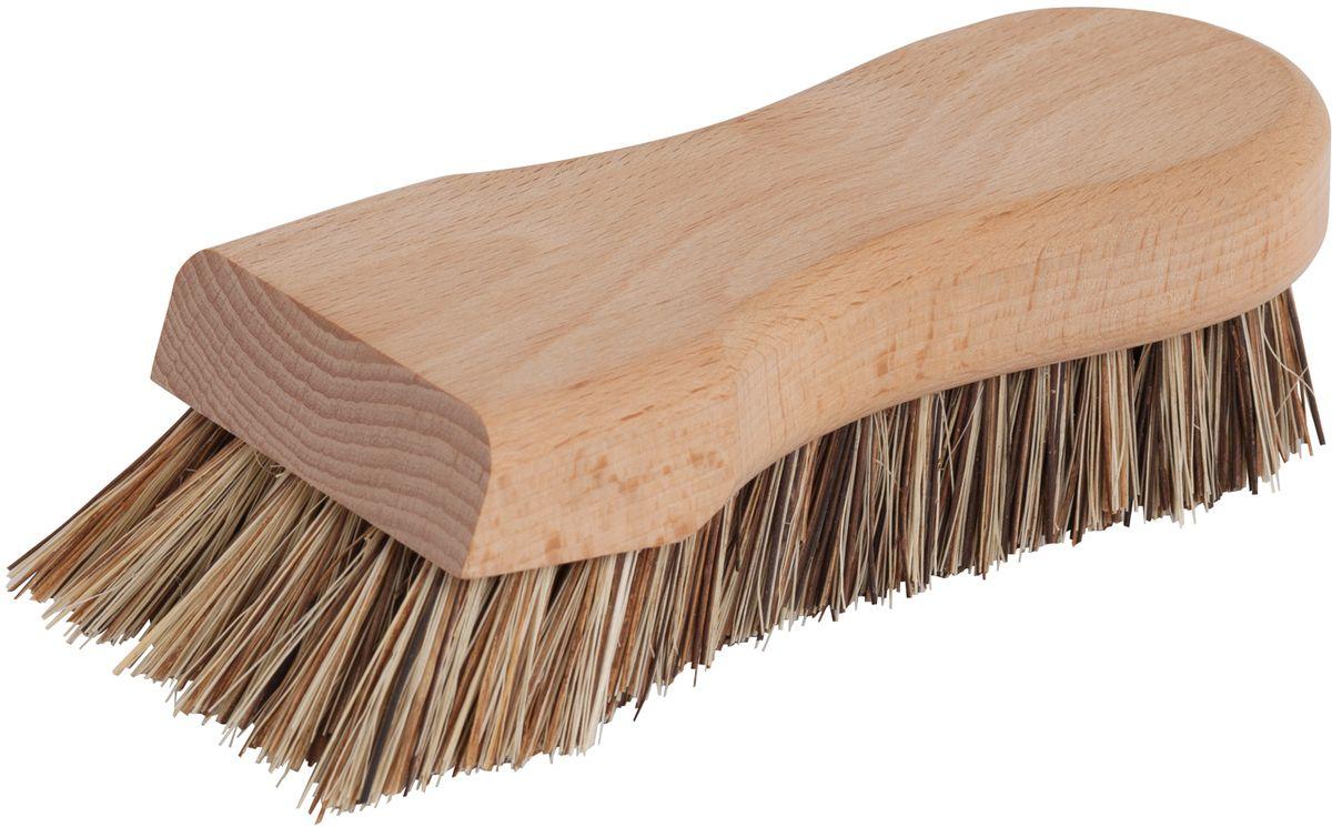 Щетка для кухни Redecker, жесткая10503Щётка для кухни, сделанная из необработанной древесины бука и экстра жесткой щетины. Щетина представляет собой смесь двух разных волокон растительного происхождения - волокна тэмпико, добываемого из растений агавы, произрастающих на мексиканских плато, и пальмирского волокна, получаемого из листьев пальмирской пальмы, распространенной в Индии и на Шри-Ланке.Волокно тэмпико характеризуется высокой жаро- и формоусточивостью, что делает его идеальным материалом для чистящих щеток, в то время как пальмирское волокно устойчиво к высоким температурам и влаге. Вместе они образуют жесткую разноцветную щетину, которая без труда справится с сильными загрязнениями кухонных поверхностей. Длина щётки - 16 см.