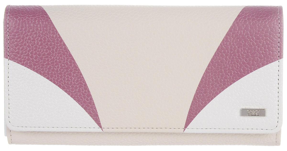 Кошелек женский Esse Радо, цвет: молочный. GRDO00-00MG00-FJ242O-K100BM8434-58AEБольшой вместительный кошелёк - купюрник. Имеет 3 широких отделения для купюр и 4 дополнительных открытых кармана, 6 прорезных карманов для кредитных карт (одно в виде кармашка с пластиковым окном). На задней стенке отделение для мелочи, закрывающееся на молнию. Закрывается на кнопку.