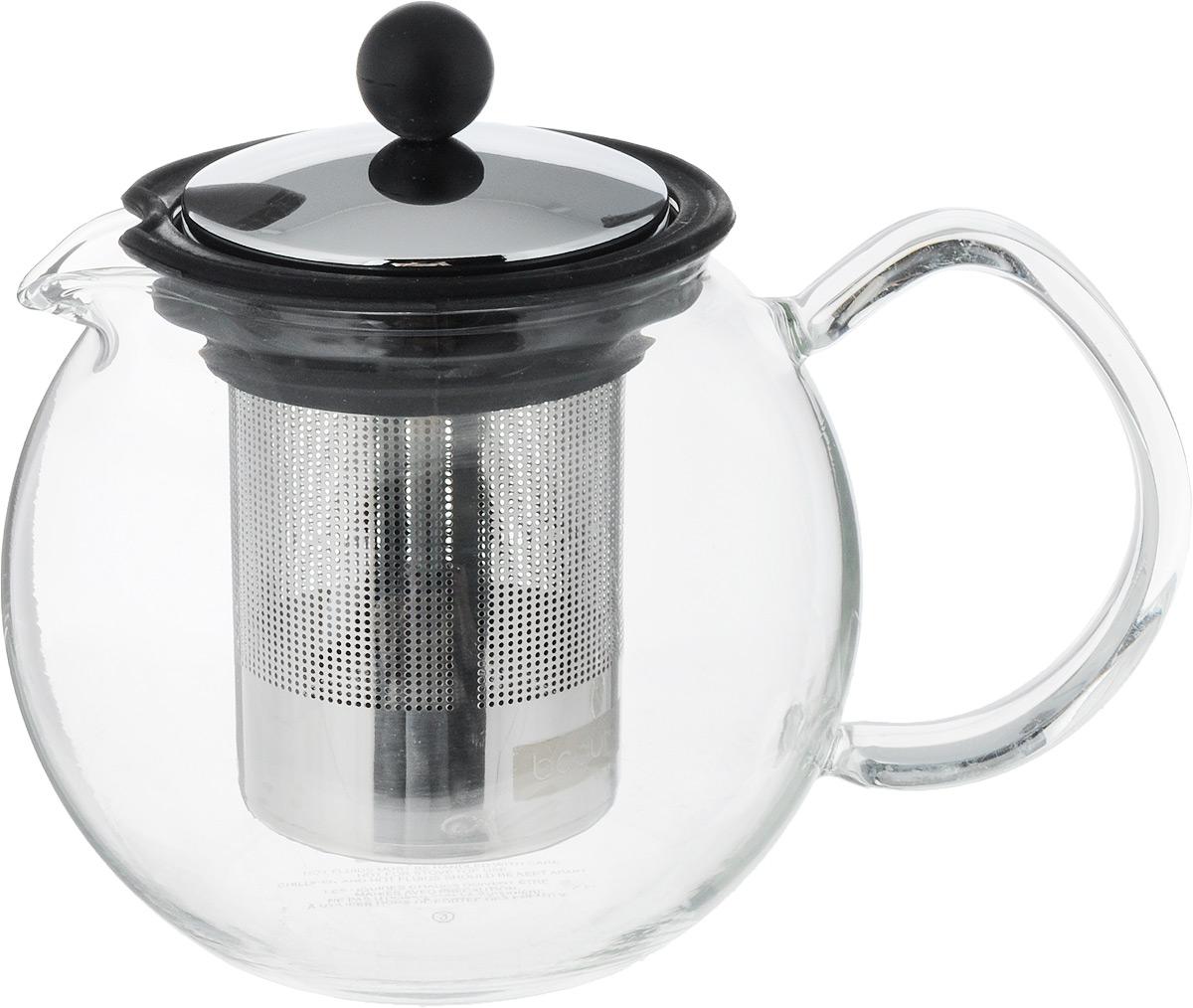 Чайник заварочный Assam, с фильтром, цвет: прозрачный, черный, 0,5 лVT-1520(SR)Заварочный чайник Assam изготовлен из высококачественного пластика и жаропрочного стекла (до 100°С). Чайник имеет пластиковый фильтр с прессом и оснащен удобной ручкой. Он прекрасно подойдет для заваривания чая и травяных напитков.Такой заварочный чайник займет достойное место на вашей кухне.Высота чайника (без учета крышки): 11,5 см.Высота чайника (с учетом крышки): 13 см. Диаметр основания: 6,5 см.