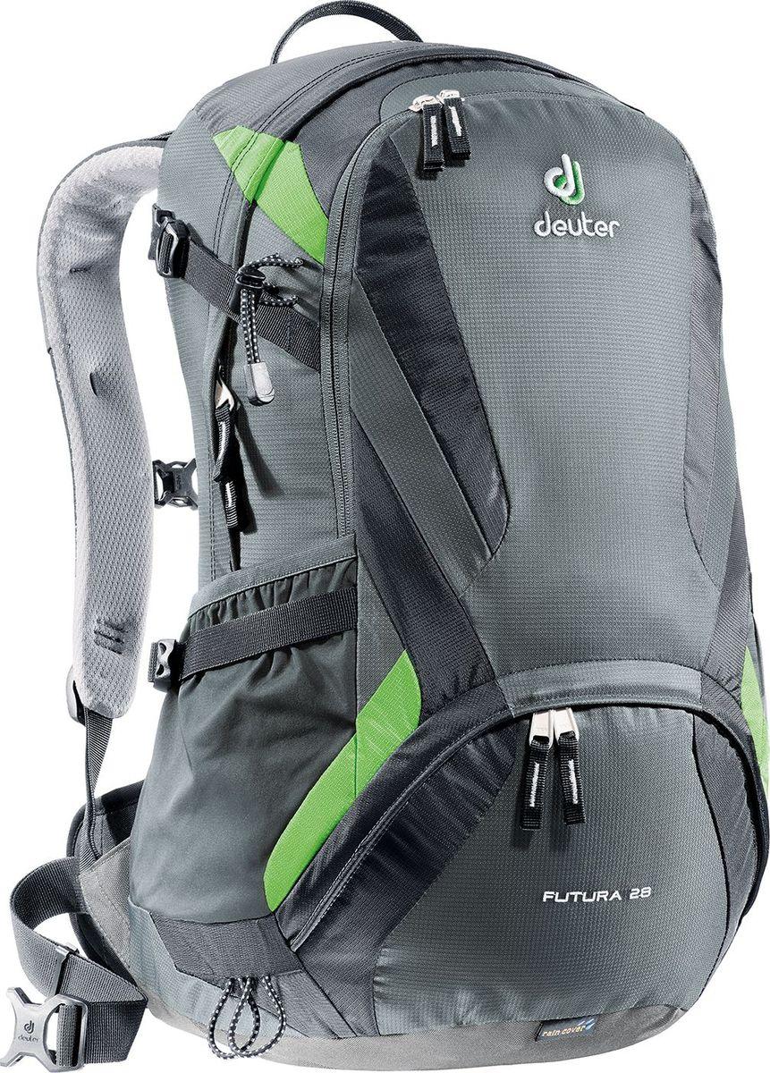 Рюкзак Deuter Futura, цвет: серый, 28 лBP-001 BKЭти ведущие модели среди лёгких рюкзаков Deuter сохранили свои плавные обводы, но теперь их цвета изменились: первоклассная функциональность сочетается с отличной системой вентиляции Aircomfort. Они отлично смотрятся и в офисе, и в магазине, и в однодневном походе.Особенности: - плечевые лямки из двухслойного поропласта со стабилизирующими ремнями; - боковые компрессионные ремни для регулирования объема; - практичный карман спереди; - боковые сетчатые карманы; - внутренний карман для мелких вещей; - отделение для мокрой одежды; - петли для телескопических палок Вес (кг.): 1.3 Объем (л): 28 Размеры (см.): 53х34х26