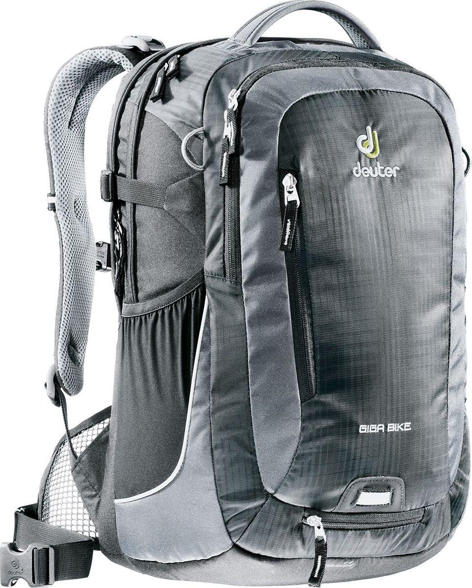 Рюкзак городской Deuter Giga Bike, цвет: серый, черный, 28 лЛЦ0036Городской рюкзак Deuter Giga Bike объединяет в себе качества офисного и велосипедного рюкзака. Сверхпрочный, хорошо организованный рюкзак разработан специально для людей, которые регулярно ездят в школу, университет или в офис. Для любитель быстрой езды, рюкзак для велосипеда снабжен набедренным поясом для плотного прилегания к спине.- система спинки Airstripes и сетчатые крылья набедренного пояса- большое основное отделение, в котором помещаются папки для бумаг- дно имеет мягкую подкладку- компрессионные стропы- съемный держатель шлема- удобная ручка для переноски- большой передний карман на молнии с органайзером- съемный набедренный ремень- петля с отражателем- второе основное отделение под ноутбук 17 дюймов- боковой сетчатый карман- съемный чехол от дождя яркого цвета- отражатели 3М- стабилизирующие ремниВес: 1200 гОбъем: 28 лРазмер: 46/31/23 (В х Ш х Г) см