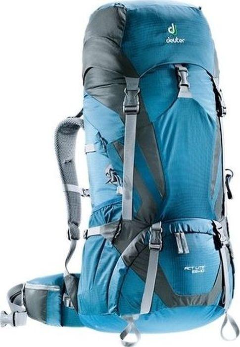 Рюкзак туристический Deuter ACT Lite, цвет: синий, темно-серый, 65+10 лa026124Надежный вместительный рюкзак для путешествий и экспедиций: Совершенная подвеска с комфортной спинкой, прямой доступ в основное отделение – сочетание комфорта и функциональности. Благодаря подвижным набедренным крыльям Vari Flex, системе спинки Vari Quick и каркасу X-Frames, одна и та же система подвески подходит к любым грузам от средних до тяжёлых, оставаясь устойчивой, гибкой и эффективно распределяющей нагрузку. Система Aircontact с продуманной эргономичной системой подушек спинки очень хорошо сидит на спине и обеспечивает отличную вентиляцию со всех сторон.- экономия энергии и комфорт, благодаря анатомическому подвижному набедренному поясу Vari Flex, отслеживающему любое ваше движение- компрессионные ремни на набедренных крыльях для точной регулировки положения груза- поясная застёжка Pull-Forward легко регулируется даже под тяжёлым грузом- прочный сотовый алюминиевый X-образный каркас передает нагрузку на набедренный пояс- благодаря специальному покрою верхней части рюкзака и возможности регулировать положение верхнего клапана, обеспечивается свободное движение головы- три боковых компрессионных ремня - боковые карманы со складками, питьевая система» карман на молнии в набедренном поясе- карман в верхнем клапане- большой внутренний карман на молнии- две цепочки петель daisy chain для навески снаряжения- петли на верхнем клапане для крепления дополнительных грузов- петля для ледоруба- боковые карманы для стоек палатки - двухслойное дно- карманы на молнии для карт сбоку- Вес: 1990 гр.- Объем: 65 + 10 л- Размер: 86 / 36 / 32 см