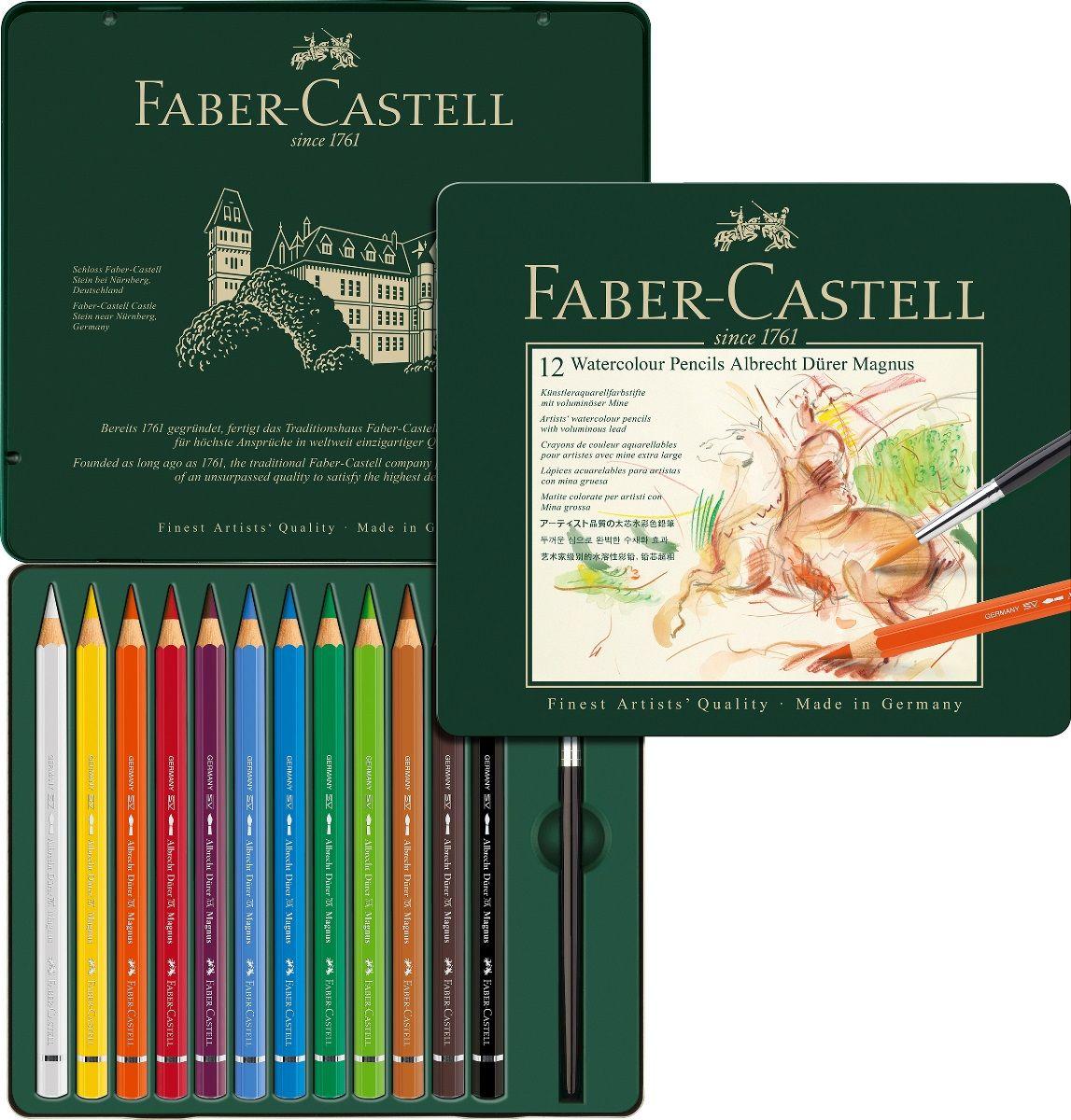 Faber-Castell Набор цветных акварельных карандашей Albrecht Durer 12 цветовSMA510-V8-ET акварельные карандашинаивысшего качества толстый грифель толщиной 3,8 мм(5,3 мм для версии Magnus) высококачественные пигменты гарантируютустойчивость к выцветанию, выразительныйцвет