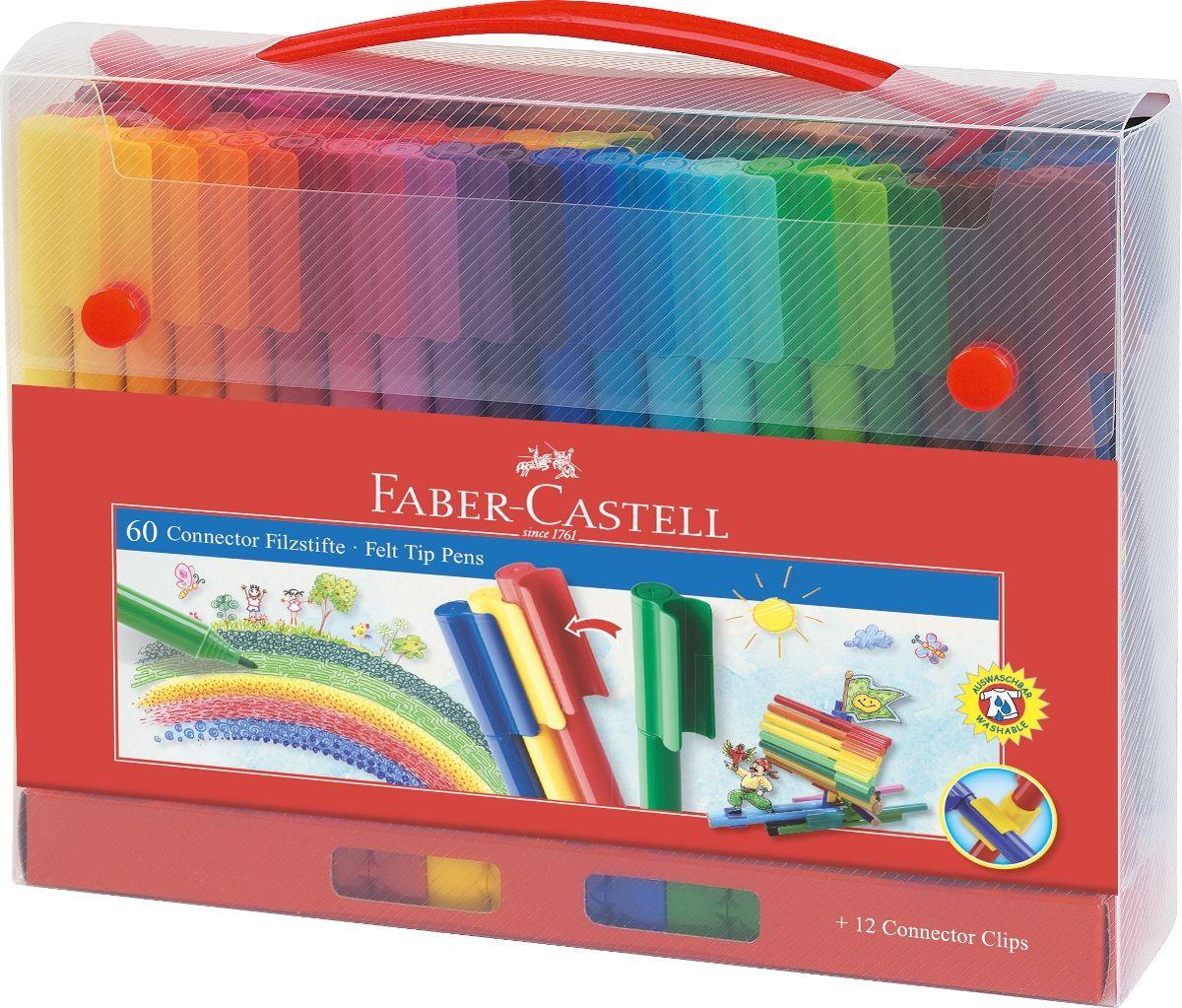 Faber-Castell Набор фломастеров Connector 60 цветов72523WD набор в пластиковом пенале содержит 60фломастеров Connector, 12 клипов для соединения