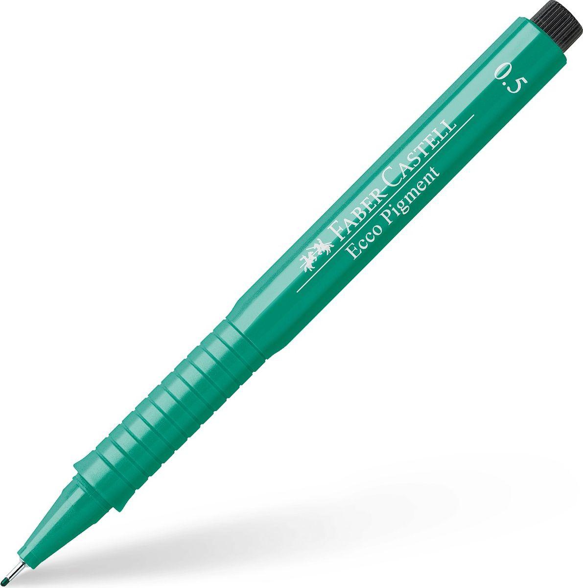 Faber-Castell Ручка капиллярная Ecco Pigment цвет зеленый 10 шт 16656372523WD идеальны для письма, рисования, набросков пигментные черные чернила водо- и светоустойчивые позволяют рисование с линейкой и по шаблону длинный кончик с металлическим корпусом эргономичная область захвата металлический клип 9 типов толщины линии