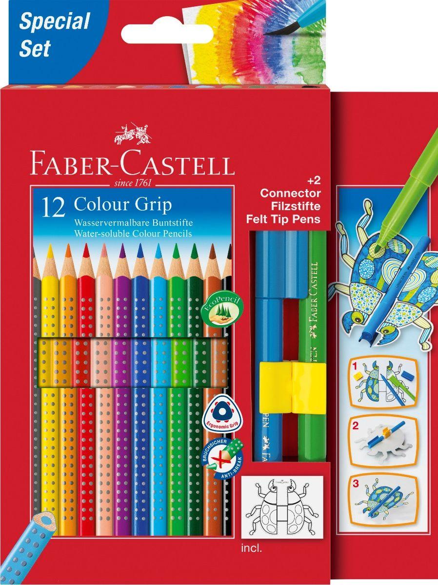 Faber-Castell Набор цветных карандашей Grip 2001 12 цветов + 2 фломастера Connector72523WDFaber-Castell Grip 2001 - карандаши наивысшего качества эргономичной трехгранной формы.В наборе 12 ярких, насыщенных цветов и 2 фломастера. Каждый карандаш имеет размываемый водой грифель и специальное место для написания имени. Все цветные карандаши имеют запатентованную Grip антискользящую зону захвата с малыми массажными шашечками.Специальная SV технология вклеивания грифеля предотвращает поломку при падении на пол. Корпус покрыт лаком на водной основе - бережным по отношению к окружающей среде и здоровью детей.Каждый карандаш изготовлен из качественного, мягкого дерева (калифорнийский кедр) – гарантия легкого затачивания при помощи стандартных точилок. Набор карандашей и фломастеров отстирываются от большинства тканей.