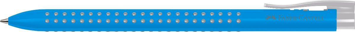 Faber-Castell Ручка шариковая Grip 2022 цвет корпуса голубой72523WDШариковая ручка Faber-Castell Grip 2022 имеет запатентованную антискользящую зону захвата с малыми массажными шашечками. Эргономичная трехгранная форма, качественный нажимной механизм и упругий клип обеспечат комфорт при использовании ручки. Пригодна для письма на документах.Особенности: наконечник и выдвижнойколпачок наконечника из металла система, предотвращающая поломку грифеля оптимальная толщина грифеля 0,7 мм качественный, длинный, выдвижной ластик, защищенный колпачком система автоматической подачи грифеля