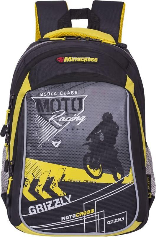 Grizzly Рюкзак цвет серый желтый RB-733-1/4VS16-SB-001Школьный рюкзак Grizzly - это необходимый аксессуар для любого школьника. Рюкзак выполнен из плотного материала и оформлен оригинальным принтом с изображением мотоциклиста спереди.Рюкзак имеет два основных отделения, закрывающихся на застежки-молнии с двумя бегунками, а также вместительный накладной карман спереди. По бокам рюкзак дополнен двумя открытыми карманами-сетками. Внутри накладного кармана спереди располагается органайзер - карман-сетка на молнии, большой накладной карман и три маленьких накладных кармашка для канцелярских принадлежностей. Внутри одного основного отделения расположен укрепленный накладной карман для планшета, дополненный прорезным карманом на молнии. Второе отделение не имеет карманов. Рюкзак оснащен удобной текстильной ручкой для переноски в руке, петлей для подвешивания и светоотражающими вставками.Спинка дополнена эргономичными воздухопроницаемыми подушечками, которые обеспечивают удобство и комфорт при носке. Мягкие анатомические лямки скругленной формы регулируются по длине.Многофункциональный школьный рюкзак станет незаменимым спутником вашего ребенка в походах за знаниями.