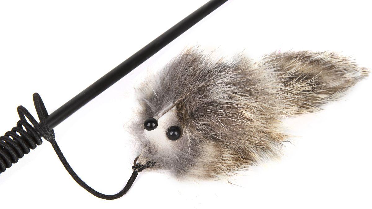 Игрушка-дразнилка для кошек GLG Котик, цвет: мультиколор, длина 60 см0120710Игрушка для кошек Дразнилка-удочка Котик, длина палочки 60 см, материал- палочка пластик, натуральный мех.