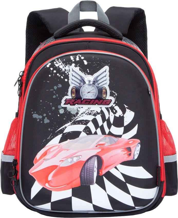 Grizzly Ранец школьный цвет черный RA-778-8/1VS16-SB-001Школьный ранец с жестким каркасом Grizzly - это красивый и удобный рюкзак, который подойдет всем, кто хочет разнообразить свои школьные будни. Ранец выполнен из плотного материала и оформлен оригинальным ярким принтом с изображением спортивного автомобиля. Рюкзак имеет два основных вместительных отделения на застежках-молниях. В первом отделении расположены две мягкие перегородки для тетрадей и учебников, а также эластичная резинка. Во втором отделении находится органайзер для канцелярских принадлежностей -два сетчатых кармана, открытый и на молнии, карман для мобильного телефона с клапаном на липучке, четыре кармашка для канцелярских принадлежностей и лента с карабином для ключей. По бокам расположены открытые сетчатые карманы. На лицевой стороне ранец декорирован подвеской-брелоком в виде гоночной машинки с сине-красной мигающей подсветкой. Рюкзак оснащен удобной ручкой для переноски и петлей для подвешивания.Широкие регулируемые лямки и сетчатые мягкие вставки на спинке рюкзака защитят спину ребенка от перенапряжения при длительном ношении, а также обеспечат необходимую вентиляцию. Многофункциональный школьный ранец станет незаменимым спутником вашего ребенка в походах за знаниями.