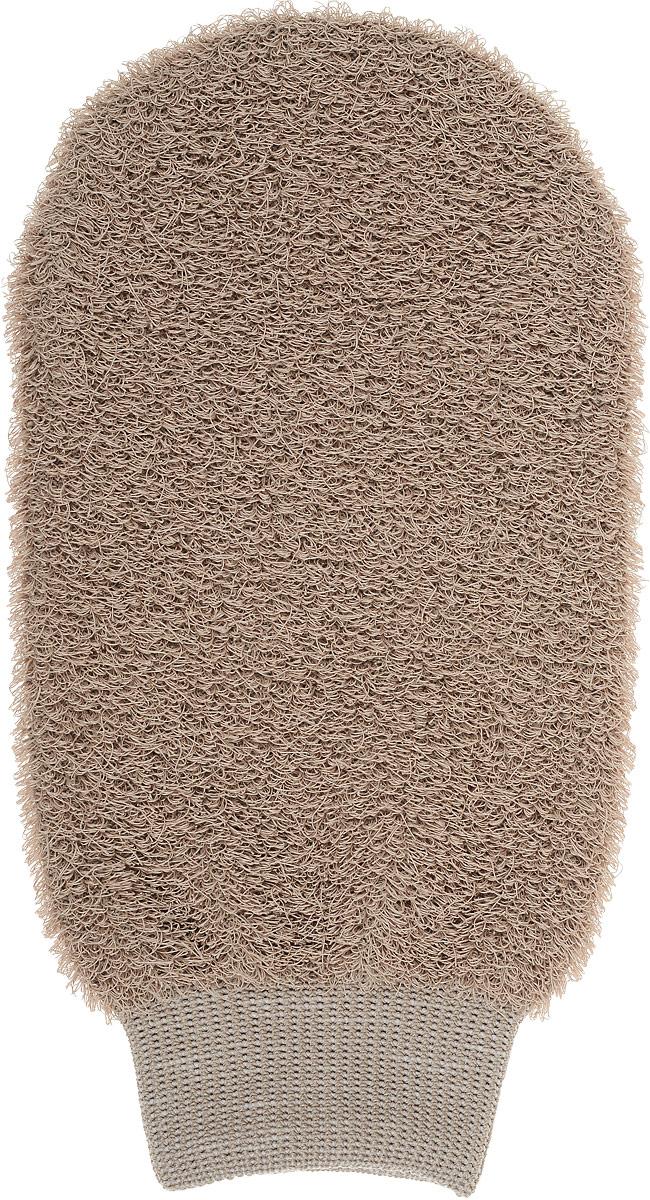 Мочалка-рукавица Riffi, жесткая, цвет: светло-коричневый40087_розовыйМочалка-рукавица Riffi, жесткая, цвет: светло-коричневый