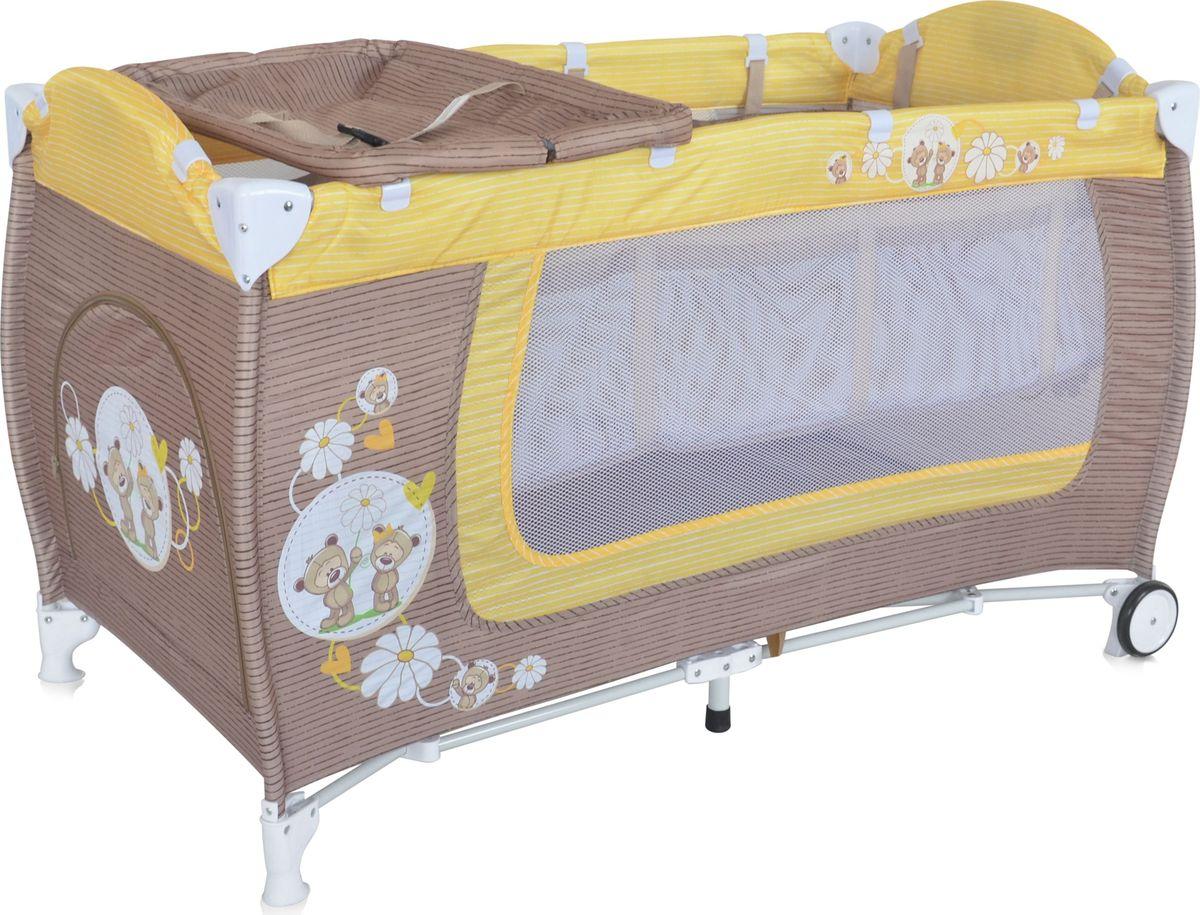 Lorelli Манеж Danny 2 цвет бежевый желтыйМ 2290_ желтыйДетский манеж-кровать для детей с рождения и до 3 лет. Верхний уровень с рождения и до 6 мес., в комплекте идет пеленальник с рождения и до 3 мес. Надежные пластиковые крепления. Два колеса с фиксацией. Яркие расцветки, приятны для мамы и малыша. Манеж безопасен для игр и сна малыша, надежная установка и безопасность. Размеры манежа 120х60х72 см. вес 10,6кг. Манеж имеет боковой лаз на молнии, легкую систему складывания и раскладывания. Сумку - чехол для переноски манежа. Матрасик в комплетке на дно манежа.