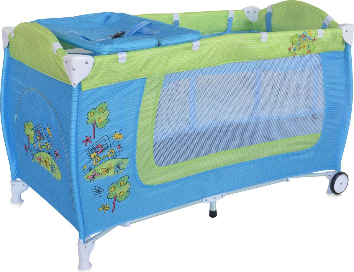 Lorelli Манеж Danny 2 цвет синий зеленый54 009303Детский манеж-кровать для детей с рождения и до 3 лет. Верхний уровень с рождения и до 6 мес., в комплекте идет пеленальник с рождения и до 3 мес. Надежные пластиковые крепления. Два колеса с фиксацией. Яркие расцветки, приятны для мамы и малыша. Манеж безопасен для игр и сна малыша, надежная установка и безопасность. Размеры манежа 120х60х72 см. вес 10,6кг. Манеж имеет боковой лаз на молнии, легкую систему складывания и раскладывания. Сумку - чехол для переноски манежа. Матрасик в комплетке на дно манежа.