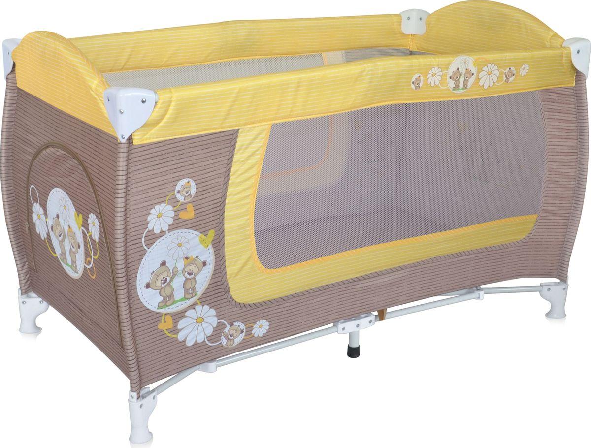 Lorelli Манеж Danny 1 цвет бежевый желтыйМ 2290_ желтыйДетский манеж-кровать для детей от 6 мес. до 3 лет. Яркие расцветки, приятны для мамы и малыша. Манеж безопасен для игр и сна малыша, надежная установка и безопасность. Размеры манежа 120х60х72 см. вес 8,4кг. Манеж имеет боковой лаз на молнии, легкую систему складывания и раскладывания. Сумку - чехол для переноски манежа. Матрасик в комплетке на дно манежа.