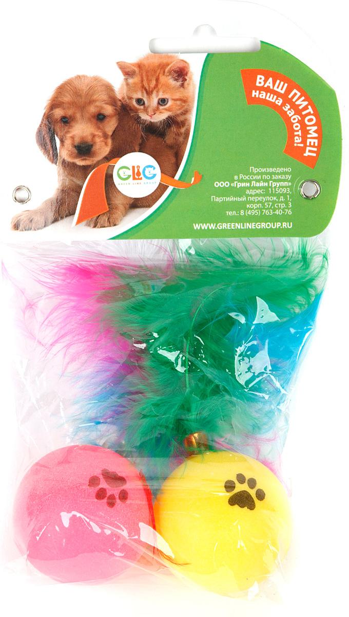 Игрушка для кошек GLG Мячик с перьями, гремящий, 2 шт0120710Игрушка для кошек-мячик с перьями, гремящий. Размер мячика 4см. На блистере в упаковке 2 штуки.