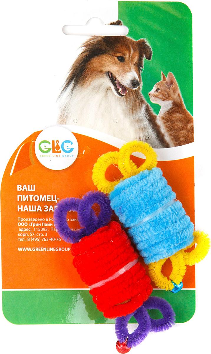 Игрушка для кошек GLG Ролл с бубенчиками, цвет: мультиколор, 2 шт0120710Игрушки для кошек, ролл с бубенчиками, размер 28х42мм, На блистере 2 штуки. материал-полиэстр, бубенчик пластик.