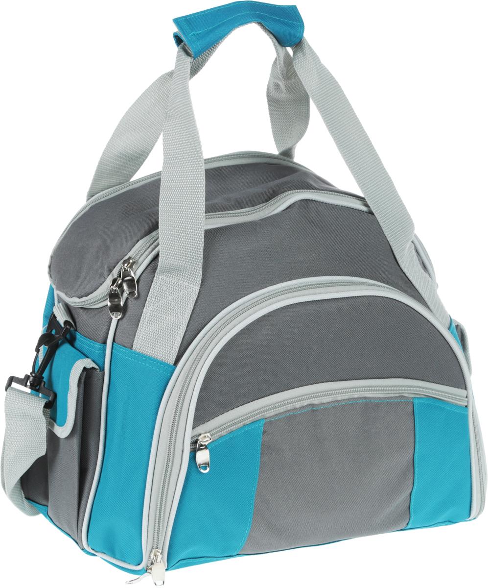 Набор для пикника Green Glade, цвет: серый, голубой, 30 предметов. T32070003954Набор для пикника Green Glade рассчитан на 4 персоны. Предметы набора хранятся во вместительном отделении удобной сумки с регулируемой лямкой и ручками. У сумки одно большое отделение с термоизоляционным слоем. Также имеются два кармашка по бокам, закрывающиеся на липучку, и один кармашек спереди. Все отделения закрываются на застежки-молнии.Все предметы набора надежно фиксируются внутри сумки специальными эластичными фиксаторами. В набор входит: - изотермическая сумка-холодильник: 1 шт, объем: 10 л, размер 40 см х 37 см х 17 см, - ножи: 4 шт, длина 20,5 см, - вилки: 4 шт, длина 19 см, - ложки: 4 шт, длина 19 см, - бокалы пластиковые: 4 шт, объем: 200 мл, - тарелки пластиковые: 4 шт, диаметр 22,5 см, - салфетки хлопковые: 4 шт, - солонка: 1 шт, - перечница: 1 шт, - складной нож со штопором и открывалкой: 1 шт, длина 16,5 см, - нож для сыра/масла: 1 шт, длина 19 см, - пластиковая разделочная доска: 1 шт, размер 15 см х 15 см х 0,5 см.Набор для пикника Green Glade обеспечит полноценный отдых на природе для большой компании или семьи. Сумка холодильник поможет сохранить свежесть ваших продуктов до 12 часов (при использовании аккумулятора холода).