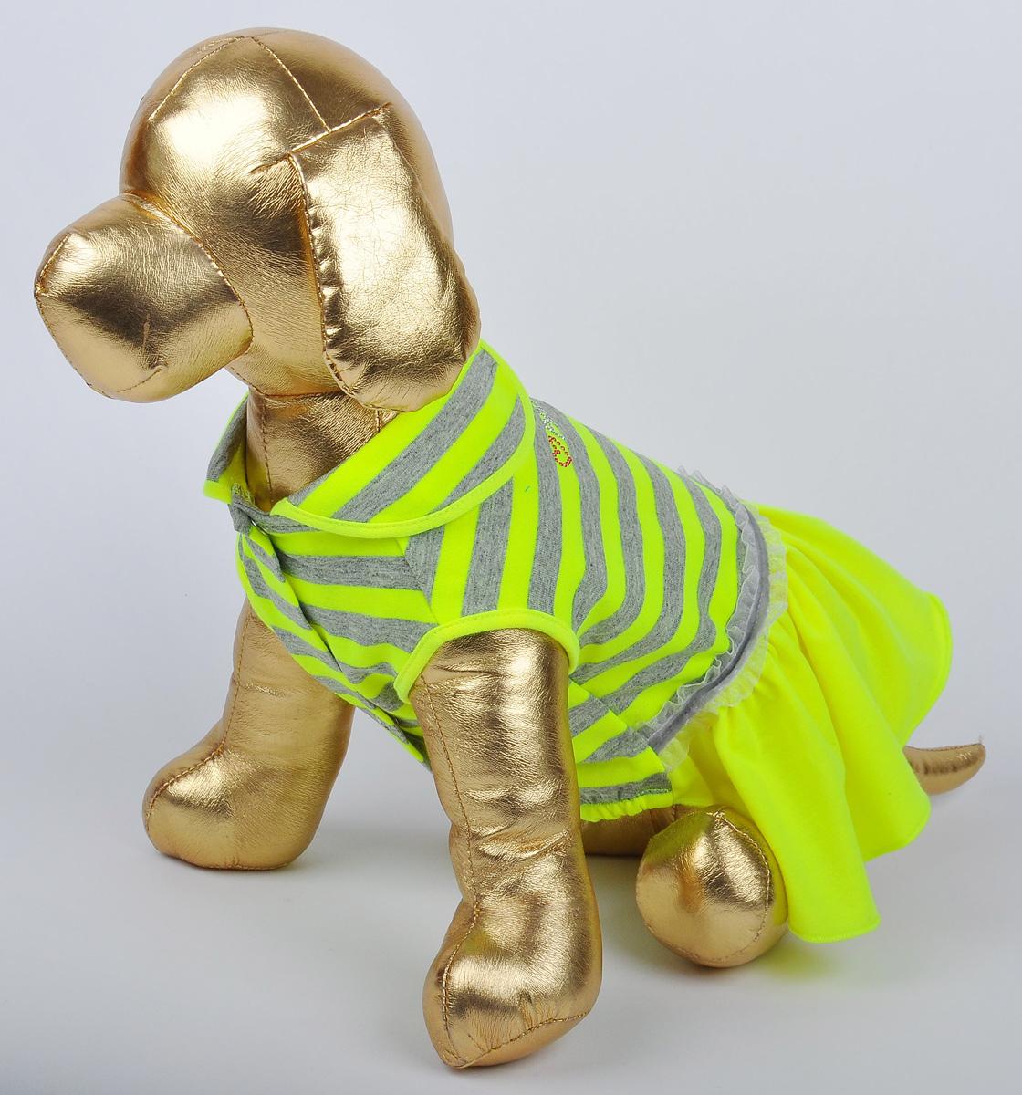 Платье для собак GLG Фэшн Ультра, цвет: желтый. Размер L0120710Платье для собак Фэшн Ультра, цвет желтый, материал- вискоза х/б, размер-L, длина спины28-30см, объем груди-43-45см.