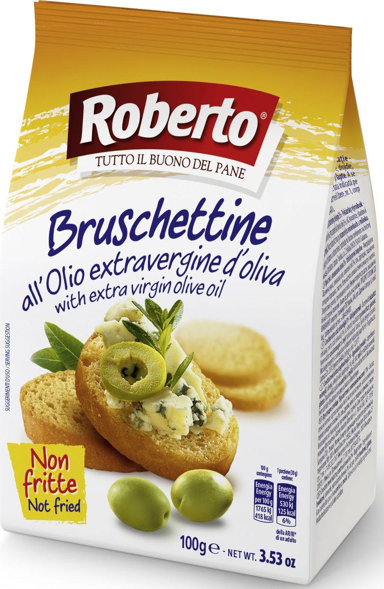 """Хрустящие хлебцы Брускеттине с оливковым маслом """"Roberto"""". Идеальны в качестве самостоятельной закуски, для добавления в салаты, для приготовления итальянской закуски - брускетты. Компания """"Roberto Alimentare S.r.l."""" основана в 1962 году. Сочетание традиций качественного производства хлеба с самыми современными технологиями и потребностями рынка и безграничная любовь к своему делу принесли компании """"Roberto Srl"""" известность и популярность во многих странах мира. Сегодня компания Roberto Alimentare s.r.l. - признанный лидер в Италии в сегменте производства хлебобулочных изделий с долей рынка по некоторым группам товаров более 30%. Компания """"Roberto"""" стремится обеспечить высокий уровень механизации и автоматизации технологических процессов производства хлеба, внедрение новых технологий и постоянное расширение ассортимента хлебобулочных изделий."""