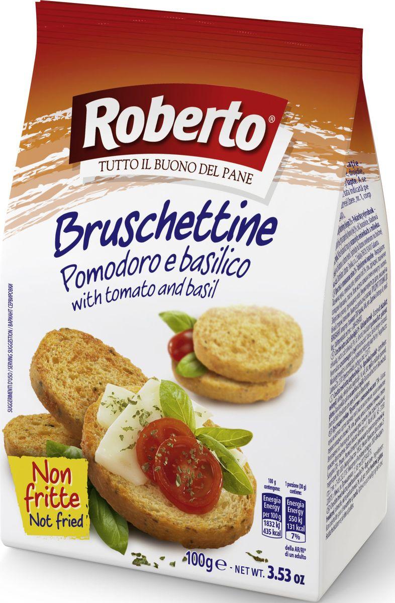 """Хрустящие хлебцы Брускеттине со вкусом томатов и базилика """"Roberto"""" идеальны в качестве самостоятельной закуски, для добавления в салаты, супы, для приготовления итальянской закуски - брускетты. Компания """"Roberto Alimentare S.r.l."""" основана в 1962 году. Сочетание традиций качественного производства хлеба с самыми современными технологиями и потребностями рынка и безграничная любовь к своему делу принесли компании """"Roberto Srl"""" известность и популярность во многих странах мира. Сегодня компания Roberto Alimentare s.r.l. - признанный лидер в Италии в сегменте производства хлебобулочных изделий с долей рынка по некоторым группам товаров более 30%. Компания """"Roberto"""" стремится обеспечить высокий уровень механизации и автоматизации технологических процессов производства хлеба, внедрение новых технологий и постоянное расширение ассортимента хлебобулочных изделий."""