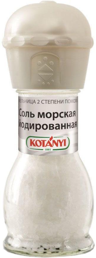 Kotanyi соль морская йодированная мельница, 92 г0120710Для получения морской соли морскую воду направляют в соляные озера, где она испаряется под воздействием солнца, оставляя только кристаллы соли. Соль Kotanyi универсальна в использовании. Она усиливает вкус блюд, является консервантом и используется для производства сыра.