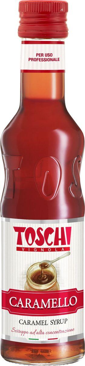 Toschi Карамель сироп, 0,25 л0120710Сироп Карамель Toschi отличается насыщенным вкусом и ароматом карамели. Подходит для приготовления алкогольных и безалкогольных коктейлей, в качестве дополнения к молочным напиткам, горячему шоколаду, кофе, чаю, мороженому и кондитерским изделиям.О производителе: Компания Тоски Виньола основана в 1945 году как поставщик продуктов питания. Деятельность компании началась с производства фруктов в ликере, далее ассортимент начал включать сиропы, ликеры, вишни в сиропе Amarena, ингредиенты для мороженого и кондитерских изделий, бальзамический уксус и многое другое.За 70 лет развития компания Тоски Виньола значительно расширила ассортимент выпускаемых продуктов. Благодаря высочайшему качеству и использованию натуральных ингредиентов продукция компании Тоски Виньола известна во всем мире. В 2006 году вся продукция Тоски Виньола получила сертификат IFS (Международный пищевой стандарт). Сегодня Тоски Виньола является семейной компанией, ей управляют Джорджио Монторси и Массимо Тоски, которые бережно хранят секреты семейного производства.