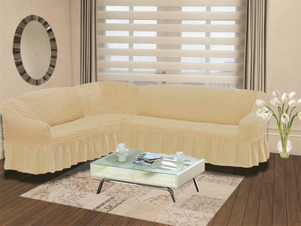 Чехол на угловой диван Karna Bulsan, универсальный. 2640/CHAR00994672Подходит и на правосторонний и на левосторонний диван за счет того, что у него нет вшитой вставки в середине. Крепиться фиксаторами, которые не позволяют съезжать чехлу.
