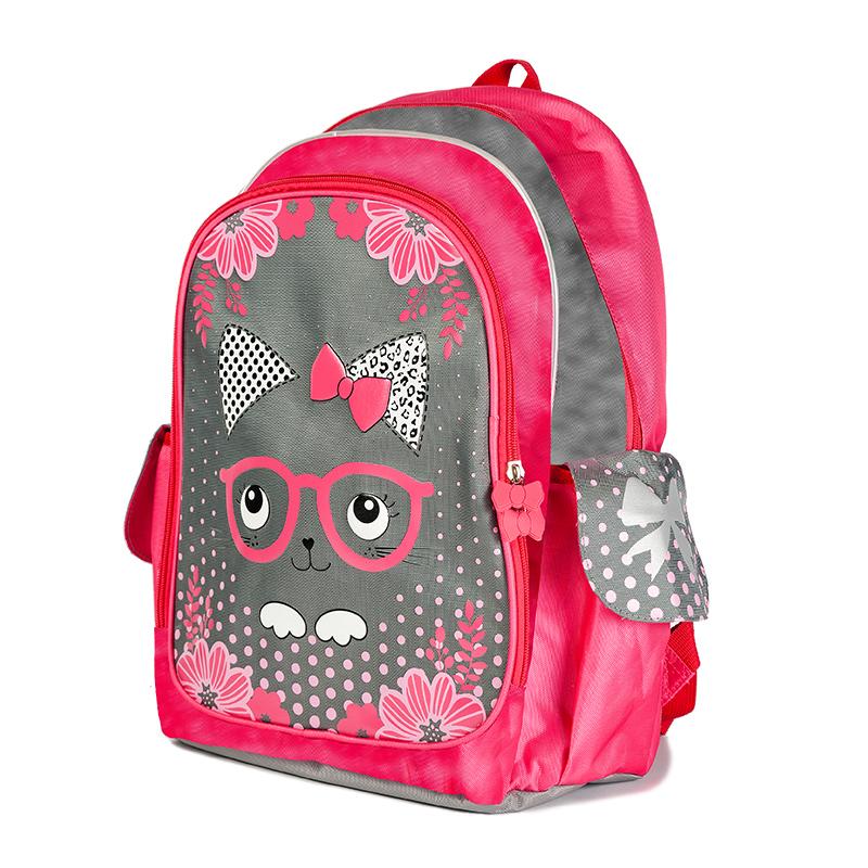 Maxi Toys Рюкзак для девочки Котенок в Очках цвет розовый MT-112016-272523WDМягкий каркас.Основное отделение на молнии, 1 внешний карман, 2 боковых кармашка. Усиленная спинка. Светоотражающие элементы.Стилизованные прорезиненные пуллеры.