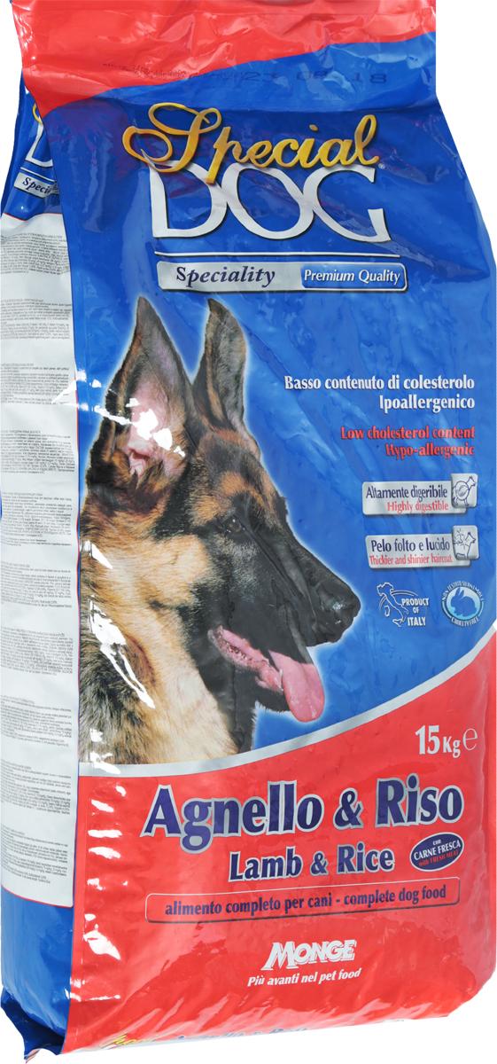 Корм сухой Monge Special Dog для собак с чувствительной кожей и пищеварением, с ягненком и рисом, 15 кг0120710Monge Special Dog - это гипоаллергенное полнорационное питание для взрослых собак всех пород с чувствительной кожей (дерматозис, перхоть, зуд) и пищеварением, а также со светлой шерстью. Содержит качественный полноценный белок, удовлетворяющий потребность собак в энергии. Входящее в состав мясо ягненка богато белком с высокой биологической ценностью. Корм питателен, легко усваивается. Низкое содержание холестерина. В состав входит экструдированный рис - источник легко усваиваемых углеводов, что позволяет предупредить возникновение проблем с пищеварительным трактом собаки. Содержит ФОС (фруктоолигосахариды), регулирующие состояние кишечной микрофлоры собаки. Юкка шидигера уменьшает запах фекалий. Сбалансированные Омега-3 и Омега-6 жирные кислоты необходимы для поддержания здоровья кожи и шерсти.Товар сертифицирован.