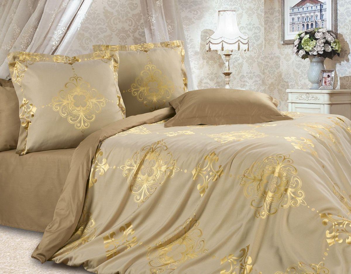Комплект постельного белья Ecotex Эстетика Богема, цвет: золотой. Евро10503Изысканная коллекция Estetica из жаккардового сатина — это утонченное удовольствие, рожденное неповторимым сочетанием перламутрового блеска и матовой сдержанности.
