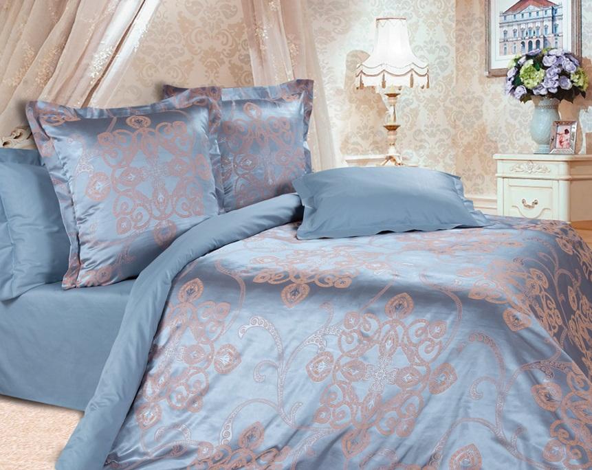 Комплект постельного белья Ecotex Эстетика Борнео, цвет: синий. 2-х спальныйS03301004Изысканная коллекция Estetica из жаккардового сатина — это утонченное удовольствие, рожденное неповторимым сочетанием перламутрового блеска и матовой сдержанности.